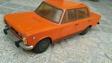 VINTAGE FIAT 125P POLSKI SF 4046 POLISH TIN AND PLASTIC TOY RARE MODEL ORANGE