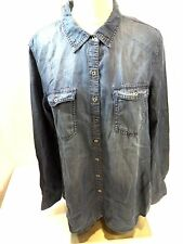 Buffalo David Bitton Womens Long Sleeve Dark Denim Shirt US Size L NWT
