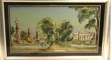 EGLOMISE DESIGNS BOSTON YALE UNIVERSITY FRAMED REVERSE PAINTED ON GLASS IMAGE