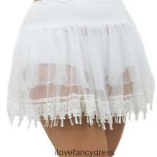 WHITE UNDERSKIRT PETTICOAT WITH TEARDROP LACE HEM TUTU FANCY DRESS COSTUME SKIRT