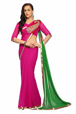 Red  faux georgette saree with unstitched blouse (1508)