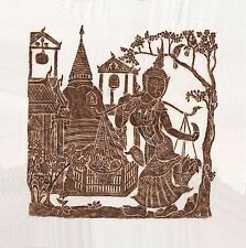 "Thai Temple Rubbing - Brown - Temple Scene - 24"" x 24""         -          2437BR"