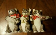 JSNY TAIWAN CAT FIGURINES WITH MUSICAL INSTRUMENTS LOT OF 3