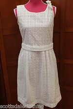 NEW Burberry Brit Mollorie White Eyelet Sleeveless Lined Dress US 10 UK 12 M