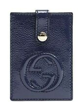 GUCCI Soho Patent Leather Interlocking GG Card Case/Holder Navy NWT Authentic!
