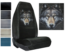 Velour Seat Covers Car Truck SUV Wolf Face High Back pp #Y