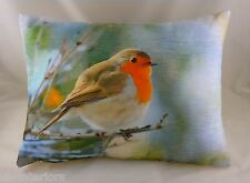 """17""""x13"""" Robin Velvet Chenille Cushion Evans Lichfield Bird wildlife DP302"""