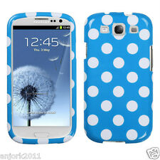 Samsung Galaxy S3 Snap-On Hard Case Cover Accessory Blue White Polka Dots