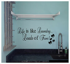 Life is Like Laundry Loads of Fun Wall Sticker Wall Art Vinyl Decals kitchen