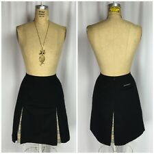 BURBERRY Black And Nova Check Box Pleat Skirt. US4 UK8