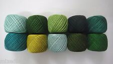 LOT OF 10 SHADES OF GREEN 6 Ply Strand Cotton Thread Yarn CrossStitch Embroidery