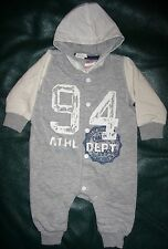 2-4 month boys H & M hooded one-piece gray & white #94 Athletic Dept. outfit