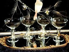 EXCEPTIONAL & EXQUISITE CRYSTAL ART DECO  HOLLOW STEM CHAMPAGNE  GLASSES SET OF