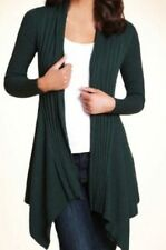 M&S Open Front Ribbed Oblong Cardigan, BNWT, Forest Green, Size 12, Cotton Blend