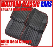 MGB Roadster and GT  Seat Covers 1970 -1981 Black/ Red , Does a PAIR of seats .