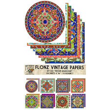 "Paper 24sh 6""x6"" # Persian Arabesque Vintage # FLONZ Craft Scrapbooking 022"