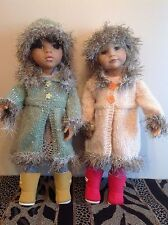 "Dolls Fashion clothes knitting  pattern. 18"" doll. Fur trimmed coat and hat."