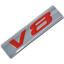 CHROME/RED METAL V8 ENGINE RACE MOTOR SWAP EMBLEM BADGE FOR TRUNK HOOD DOOR D