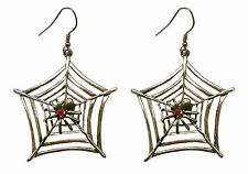 Gothic Spider on Web with Red Austrian Crystals Pewter Earrings #840