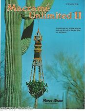 Macrame Unlimited 2 Vintage Instruction Book Plant Hangers Room Divider 1977 NEW