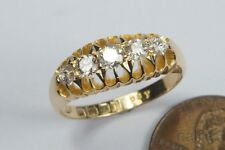 ANTIQUE ENGLISH EDWARDIAN ERA 18K GOLD DIAMOND 5 STONE RING c1910