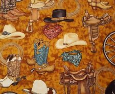 Unbridled BTY Dan Morris Quilting Treasures Horse Western Cowboy Hat Saddle