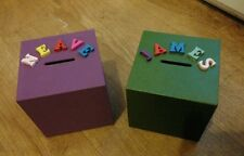 NEW PERSONALISED Made to order COLOURED WOODEN MONEY BOX any name any colour