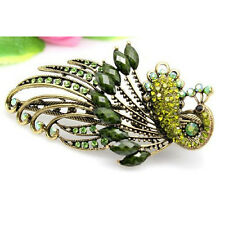 Olive green Lovely Vintage Jewelry Crystal Peacock Hair Clips PK