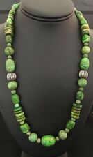 Native American Sterling Silver Green Turquoise Bead Necklace.