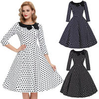 Vintage 3/4 Sleeve 1950's 60's Polka Dot Cocktail Evening Party Dress