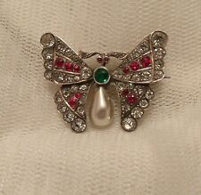 VINTAGE VICTORIAN -EDWARDIAN 950 SILVER,  PASTE  FRENCH BUTTERFLY BROOCH PIN