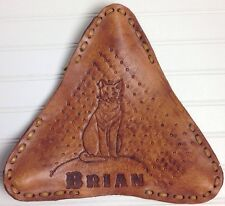 Leather Bicycle Seat Saddle Cover Cat BRIAN Name Outsider Art Handcrafted