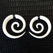 Pair of Spiral Earrings Fake Gauge Tapers Tribal Carved Cow Bone Split Plug
