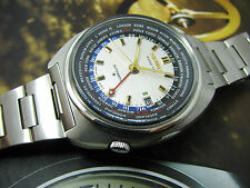 vintage V RARE SEIKO WORLDTIME 6117-6400 AUTOMATIC WATCH WHITE DIAL 1.