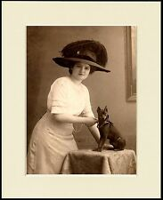 MINIATURE PINSCHER AND EDWARDIAN LADY CHARMING DOG PRINT MOUNTED READY TO FRAME