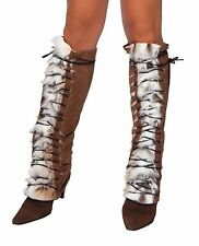 Adult Woman Costume Fur Suede Lace Up Leg Warmer Brown One Size