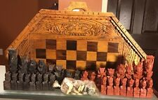 Bali Hand Carved Wooden Chess And Backgammon Set