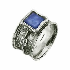 Sterling silver fine ring with kyanite gemstone handmade in Israel