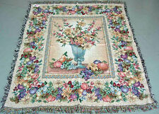 Unforgettable ~ Floral & Fruits Tapestry Afghan Throw