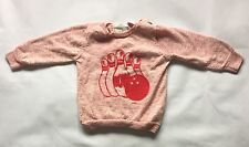 Baby Girls 12-18 Months Zara Long Sleeve Pink And White Jumper Top Bowling