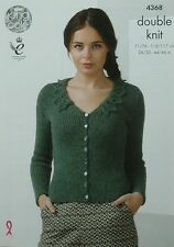 KNITTING PATTERN Ladies Long Sleeve V-Neck Lace Collar Cardigan DK KingCole 4368