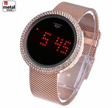 Men's Techno Pave Digital Iced Out Touch Screen Mesh Metal Band Watch WM 8246 RG