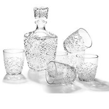 Whiskey Decanter Set Glass Square Bar Carafe Scotch Vodka Spirit 6 Rocks Glasses