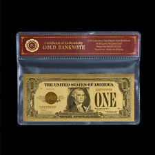 Unique Gold Certificate 1928 US Dollar Note $1 Fine 24k Gold Plated Banknote