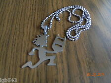 """ICP HATCHET MAN Polished Stainless Steel """"JCW"""" pendant w/30 inch 3mm ball chain"""
