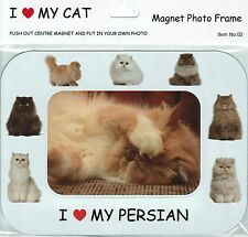 I Love (Heart) My Cat Magnetic Photo Frame & Magnet - Persian Cats & Kittens