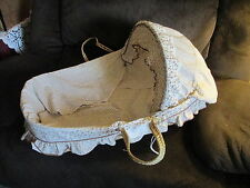 Large Wicker Baby Carrier Basket Bassinet, Skirt Pillows & Hood