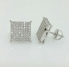 Men 925 Sterling Silver Lab Diamond Iced Out11mm Square Screw Back Stud Earrings