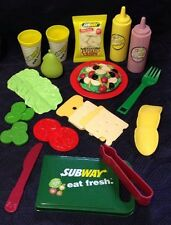 Vintage SUBWAY Pretend Fun With Play Food For little tikes SALAD BAR 26 Pc. Set