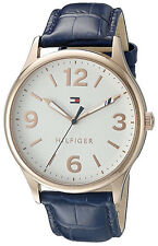 Tommy Hilfiger 1770011 White Dial Navy Leather Strap Women's Watch